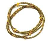 SERPENTINE Long Olive Necklace, Green Flapper necklace, Green and Red Stone Necklace, Boho Necklace, multistrand choker, bracelet