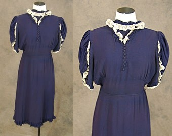 Clearance Sale vintage 30s Dress - 1930s Navy Blue Flutter Sleeve Dress AS IS Sz S