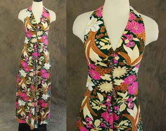 CLEARANCE vintage 70s Maxi Dress - 1970s Garden Floral Print Backless Halter Dress Sz S