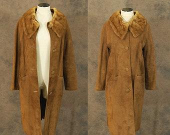 vintage 60s Coat - 1960s Mod Brown Suede Long Coat Leather Fur Collar Coat Sz S M
