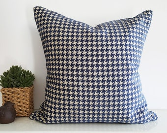 Blue Houndstooth Pillows, Blue Cream Pillow Covers, Blue Taupe Plaid Cushions, Masculine, Textured, MensWear Inspired Decor, 18x18, NEW FALL