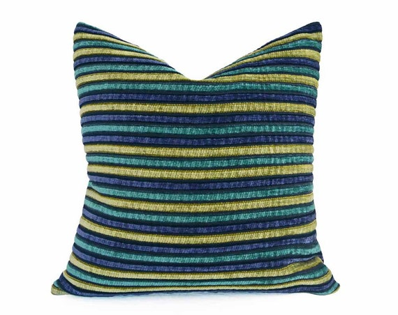 Blue And Green Striped Throw Pillows : Blue Green Teal Pillow Textured Throw Pillow Striped Pillow