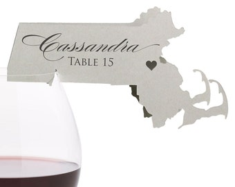 Massachusetts Place Cards - State Silhouette seating cards - with optional custom location heart cutout