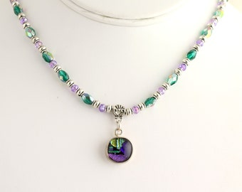 Dichroic Glass Necklace. Listing 266651804