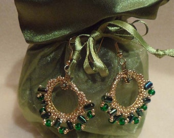 Green Rulla Hoop Earrings