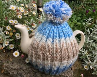 Tea Cozy - rib design in blue and coffee tweed yarn - 4-6 cup pot