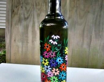 Hand Painted Oil and Vinegar Bottle, Dish Soap Dispenser, Green Square Bottle, Colorful Flowers