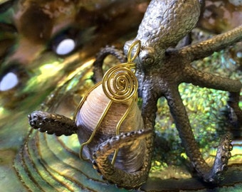 BIVALVE SHELL Wire Wrapped Pendant In Brass Wire - Unidentified Seashell - The Sea Witch Collection - Mermaid Jewelry - Water Element