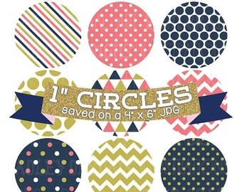 50% OFF SALE Digital Bottlecap Images Coral Navy Blue and Gold Instant Download Bottle Cap Graphics Digital Collage Sheet One Inch Circles 4