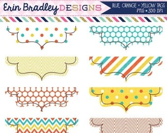 60% OFF SALE Digital Clipart Labels in Orange Blue & Yellow Instant Download Clipart Graphics