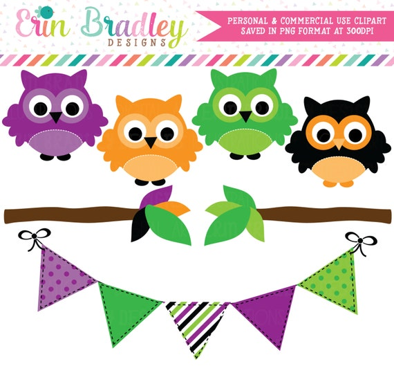 Halloween Owls Clipart, Clip Art Graphics with Bunting & Branches, Commercial Use Holiday Clip Art