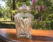 Vintage Lidded Jar Tea Caddy Vanity Glassware