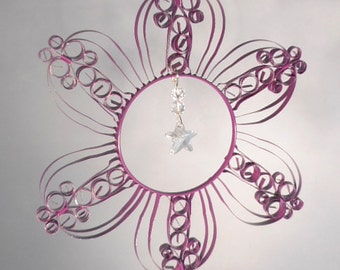 Purple Flower Suncatcher from Recycled Aluminum Can