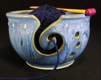 Yarn Bowl - Blue Knitting Bowl - 25% OFF - Ceramic Yarn Bowl - Yarn Basket - YarnBowl - In Stock