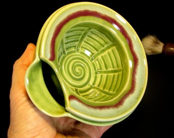 Travel Scuttle - Green Shaving Scuttle - Shave Scuttle - Shave Bowl - Scuttle for Shaving - Green Lathering Scuttle - In Stock