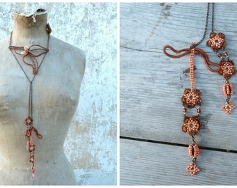 Art Deco bouquet French handmade Art Nouveau inspired Flowers & dragonfly beaded long necklace sautoir