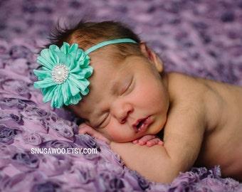 Aqua baby headband, newborn girl, baby girl, newborn photo prop, newborn baby girl, hospital pictures, baby gift