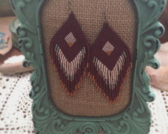 SALE Handmadewarrior Full Feather-like Fringe Bead Earrings