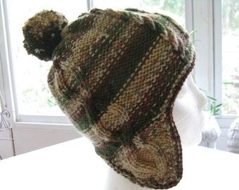 Handknitted Cabled Unisex Adult Hat with earflaps, green, beige, brown camo, Size large/small