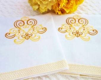 OOAK Gold Pillowcases, NOS Pillowcases, Machine Embroidery, Vintage Pillowcases