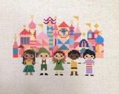 Small World Cross Stitch Pattern-Disney Ride Inspired Fan Art Parody: Instant PDF Digital Download