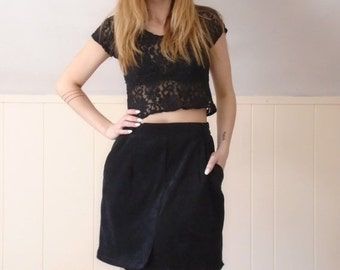 extra 30% off SALE ... 90s Black Microsuede Mini A Line Secretary Skirt - M L Petite