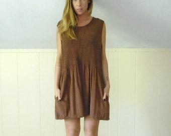 30% off ... 90s Brown Sleeveless Ruched Grunge EARTHY Mini Dropwaist Pocket Shift Dress - M L Petite