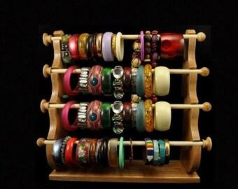 ON SALE 4 Wand Standing Bracelet Holder  Bracelet Storage Bracelet Display Bracelet Organizer Oak Wood