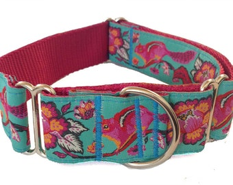"""1.5"""" Turquoise Chipmunk Martingale or Buckle Collar"""