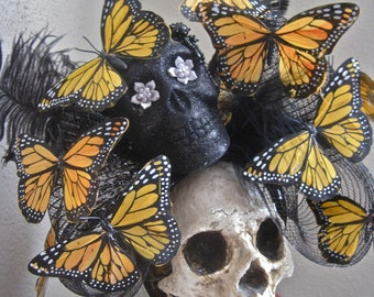 RENEWAL: Skull Headpiece Butterflies Headband Day of the Dead Oversized Butterfly Statement MONARCH MIGRATION Huge Black Bow Feathers