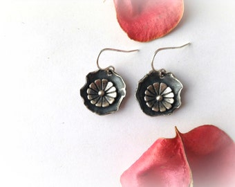 concho flower earrings, sterling silver, layered flower earrings, boho jewelry, bohemian earrings, ready to ship