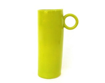 whimsical ...   tall hand built  porcelain cup   ...   chartreuse