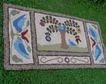 Pimitive hooked rug, Tree of Life