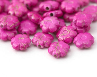 Pink Gold Drizzle Acrylic Flower Beads 10mm (50)
