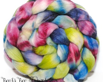TRICKSTER - Sparkly Violet Angelina, Tussah Silk and Merino Roving Hand Dyed Wool, Combed Top Roving 4 oz