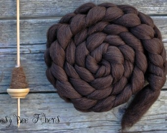 Organic Natural Chocolate Brown Corriedale Undyed Wool Combed Top for Spinning or Felting - 4 oz