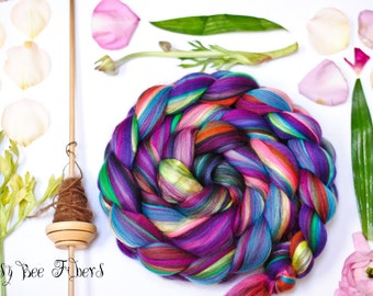 FOREST JEWELS - Custom Blend Merino and Mulberry Silk Combed Top Wool Roving for Spinning or Felting in bright colors - 8 oz