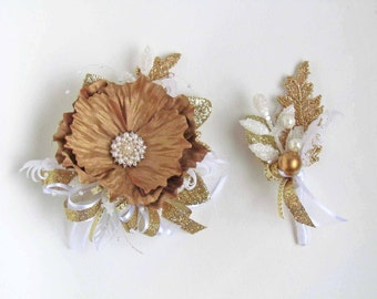 SALE PRICED...Prom Gold & White Gatsby Wrist Corsage with Matching Boutonniere...Ready to Ship