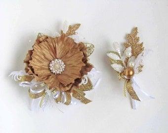 Prom Gold & White Gatsby Wrist Corsage with Matching Boutonniere