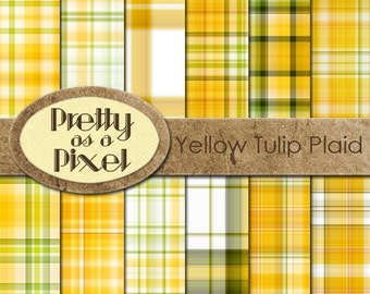 Digital Paper Pack - Yellow Tulip Plaid - INSTANT DOWNLOAD - Scrapbooking Backgrounds - 12 x 12 - Set of 12