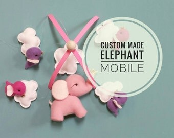 Elephant Baby Mobile - Nursery, Modern, Decor, Mobile, Clouds, Animals, Elephant, Birds, Baby MADE TO ORDER