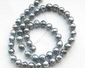 Gorgeous Near Round Silver Blue Akoya Pearls - 1/4 Strand