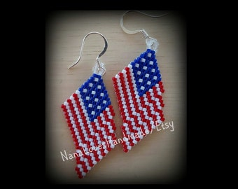 American Flag Earrings - Handmade - Fine Beaded Earrings - Ready To Ship