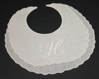 Personalized Name or Monogram Embroidered Scalloped Linen Baby Bib