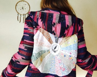 Grateful Dead Native Tribal Pattern Patchwork Upcycled Clothing Bohemian Jacket Coat Festival Womens One Size