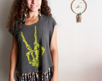 Skeleton Print Hand Peace Sign Eco Friendly Open back Fringe Upcycled Tshirt/Tee/Top/Shirt Womens O/S