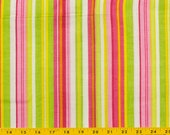 Pink cotton fabric, White, Green, Red, Yellow, Bright Pink Striped fabric 44 in wide, 2 1/4 yards sold as one piece
