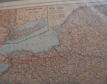 1914 State Map New York - Vintage Antique Map Great for Framing 100 Years Old