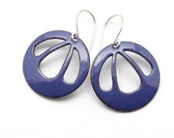 Purple Dangle Earrings - Purple Earrings - Purple Enamel Earrings - Enamel Jewelry / Bell Flower