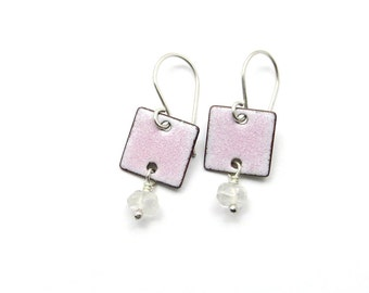 Small Pink Dangle Earrings - Pastel Pink Enamel Earrings with Quartz - Gemstone Earrings